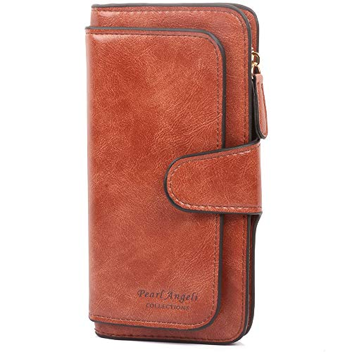 Pearl Angeli Bloqueo RFID Mujer Cartera Monedero Grande Suave Cuero Vegano Billetera Bolso Largo un montón de departamentos (marrón)