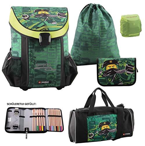 Familando Lego Ninjago Schulranzen-Set 5tlg. Easy mit Federmappe gefüllt, Turnbeutel, Regenschutz und großer Sporttasche Lloyd Spinjitzu
