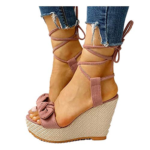 Buy kaifongfu Wedge Sandals for Women, Ladies Summer Casual Lace Up High Heel Platform Sandals Shoes...