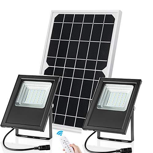 Solar Flood Light Outdoor Indoor Home Dual Head 10 Watts Mono Solar Panel IP67 Waterproof Brightness...