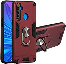 Oppo Realme 6i Rugged Case, 360 Degree Rotating Metal Ring Bracket & Magnetic Car Mount Support Back Shell TPU+PC Dual Lay...