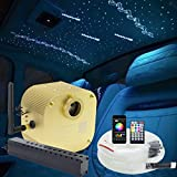 AZIMOM Bluetooth/App Control 16W Twinkle Fiber Optic Light Star Ceiling Lighting Kits with Shooting Star Effect Meteor Remote Music Mode RGBW 550pcs Fiber Strands for Home Car Interior Decoration
