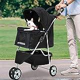 3 Wheels Pet Stroller Large/Small Dog Stroller for Dog Cat Stroller Pet Jogging Stroller Pet Jogger Stroller Dog/Cat Cage Travel Lite Foldable Carrier Strolling Cart