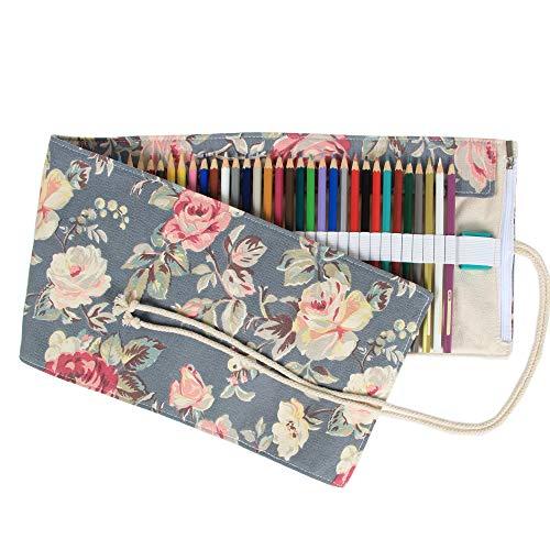 Damero Wrap Leinwand Stifterolle für 72 Buntstifte und Bleistifte Stifteetui Roll-up Mäppchen für Künstler, Verpackung Mehrzwecktasche für Reisen/Schule (Peony, 72 Holes)