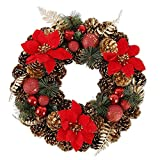 Beenle-Icey 40 cm Christmas Large Wreath, Front Door Wreath, Outdoor Wall Hanging Ornaments with Cones Red Berries Snowflakes Garland Christmas Decoration(Red, 40 cm)