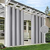 HAKUNA 2 Panels Grommet Top Light Grey Outdoor Curtains for Patio Waterproof, 52 x 84 Inch Blackout Patio Curtains for Outdoor, Thermal Insulated Porch Curtains Outdoor for Pergola, Yard