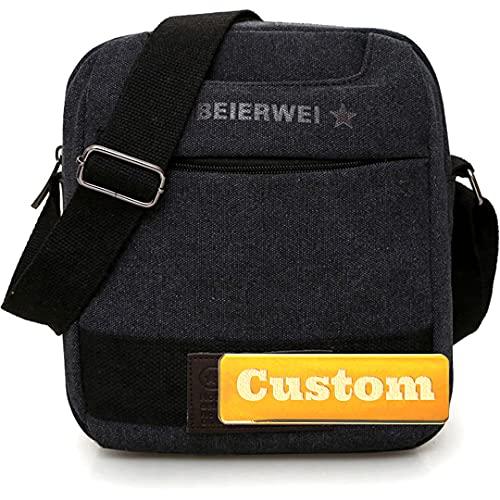FireH Personalizzato Nome Personalizzato Messenger Bag per Scuola Uomini Crossbody Borsa Da Viaggio Crossbody (Colore: Nero, Taglia unica)
