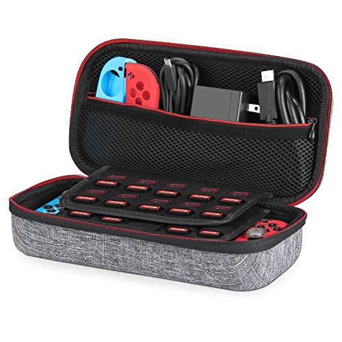 Tasche für Nintendo Switch - Younik Verbesserte Version Harte Reise Hülle Case mit größerem Speicherplatz für 19 Spiele, offizieller Wechselstromadapter und anderes Nintendo Switch Zubehör(Grau)
