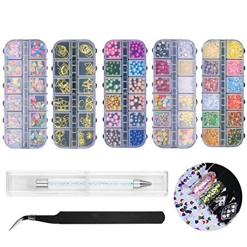 Paquete de 5 diamantes de imitación 3D para decoración de uñas, perlas coloridas brillantes, conchas de estrellas de mar, conchas de cristal, frutas, figuras geométricas, decoración de uñas