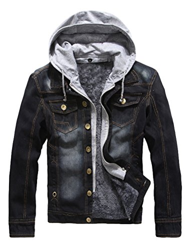 Lavnis Men's Winter Denim Hooded Jacket Slim Fit Casual Jacket Button Down Distressed Jeans Coats Outwear Black L