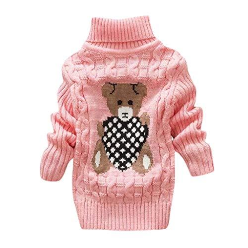 HDUFGJ Unisex - Baby Jungen Mädchen Knit Bär Langarmshirt Pullover Sweatshirt JungenKapuzenpullover Lange Ärmel Cartoon WinterjackeWinter Mantel aus Baumwolle Jacket Jacke