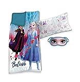 Frozen Set Saco de Dormir +cojin+ Antifaz 2. Referencia KD Textiles del hogar Unisex Adulto, Multicolor (Multicolor), única