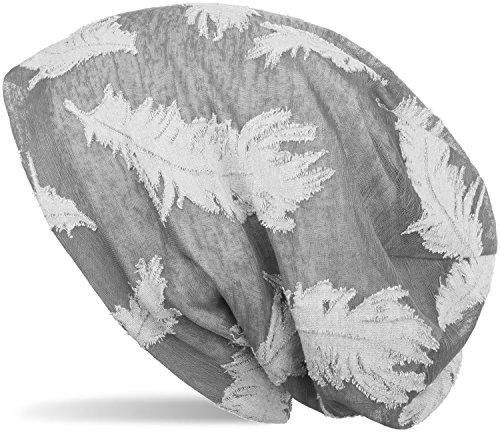 styleBREAKER Beanie Mütze mit gewebtem Feder Muster, Slouch Longbeanie, Unisex 04024130, Farbe:Hellgrau