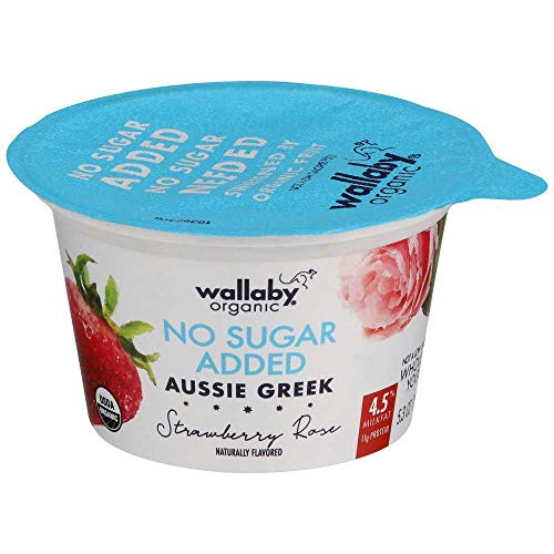 Wallaby Organic Unsweetened Strawberry Rose Whole Milk Greek Yogurt, 5.3 Ounce -- 12 per case.