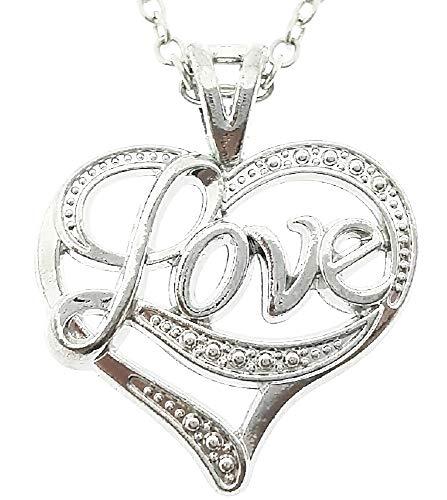 Ketting met vrouwelijk hart - vrouw - liefde - valentijnsdag - schrijven - moeder - vriendin - hanger - hartje - kerstmis - origineel cadeau-idee - sierraden - verjaardag - zilver - sieraden love