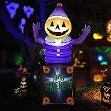 HOOJO 8 FT Halloween Inflatables Pumpkin Head Ghost in The Box Outdoor Halloween Decorations with Build-in LEDs, Blow up Halloween Decorations for Yard, Garden, and Lawn