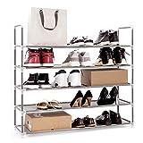 Meerveil - Estantería para zapatos de 5 capas, armario zapatero para 20 pares de zapatos, organizador de zapatos para salón, entrada (gris)