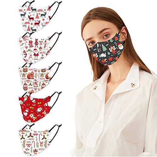 Adults Reusable 5 pcs Christmas Cotton Face_Masks Washable Reusable Cloth Fabric, Adult Printing Face Protection Fashion Balaclava for Women Men