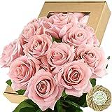 FiveSeasonStuff Fake Roses Wedding Flowers Real Touch Silk Blush Pink Artificial Flowers 12 Stems