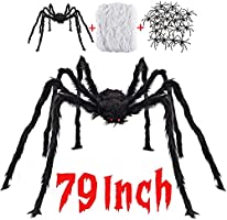 Halloween Decorations Outdoor with 6.6 Ft Giant Spider Scary Hairy Spider, 400sqft Spider Web, 20 Black Plastic Spiders...