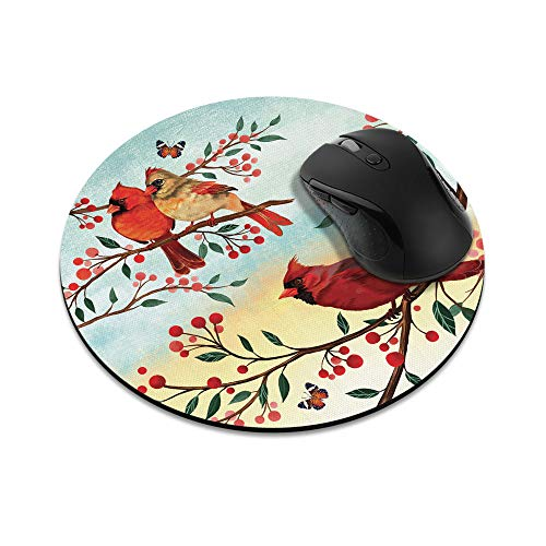 Non-Slip Round Mousepad, WIRESTER Red Cardinal Birds Mouse Pad for Home, Office and Gaming Desk