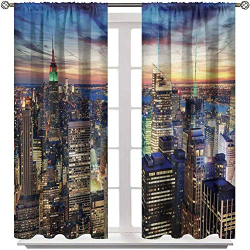 """Living Room Curtain New York Soundproof Window Curtain Panels Skyline of NYC with Urban Skyscrapers at Sunset Dawn Streets USA Architecture Classic Window Décor 2 Rod Pocket Panels 52"""" W x 72"""" L"""