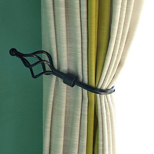 Kong EU 1 par de abrazaderas para cortinas, gancho de metal con cierre de gancho para sujetar las cortinas, color negro