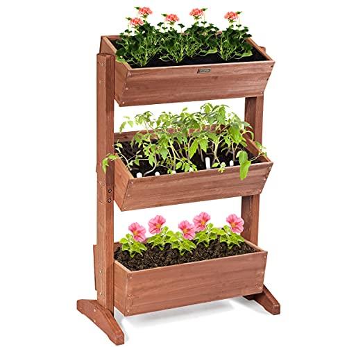 COSTWAY 3-Tier Raised Garden Bed, Vertical Flower Pots Rack with Detachable Ladder and Adjustable...