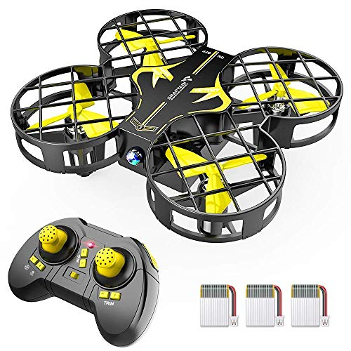 SNAPTAIN H823H Portable Mini Drone for Kids, RC Pocket Quadcopter with Altitude Hold, Headless Mode, 3D Flip, Speed Adjustment and 3 Batteries-Yellow
