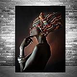 Geiqianjiumai Hermosa Mujer Negra Imprime Pintura al óleo Imagen de Arte de Pared Africana en Lienzo póster de impresión e impresión de Imagen de Pared Pintura sin Marco 42x60 cm