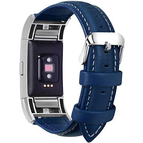 Fullmosa kompatibel mit Fitbit Charge 2 Armband für Damen und Herren,Leder Ersatz Uhrenarmbänder für Fitbit Charge2,Dunkelblau