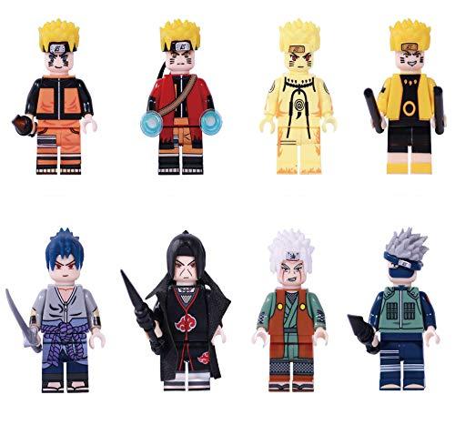 Phy Anime Figuren Nartuto Spielfigur 8 Stück Figur - Uzumaki Naruto Uchiha Sasuke Hatake Kakashi Uchiha Itachi Jiraiya Collectible Figuren Bausteinen Spielzeugpuppe Geschenk für Kinder 8PCS-4.5cm