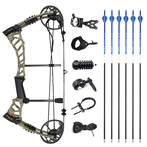 SHARROW Compound Bow Kit with Pulley and All Accessories 40 60LBS Adult Camo Right Hand for Archery Hunting CamoArrows