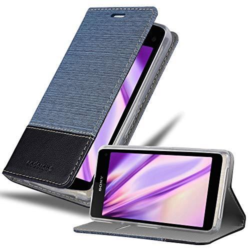 Cadorabo Hülle für Sony Xperia Z1 COMPACT - Hülle in DUNKEL BLAU SCHWARZ – Handyhülle mit Standfunktion & Kartenfach im Stoff Design - Hülle Cover Schutzhülle Etui Tasche Book
