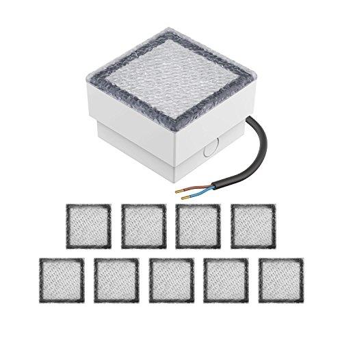 parlat LED Einbaustein Bodeneinbauleuchte CUS, 10x10cm, 230V, kalt-weiß, 10 Stk.