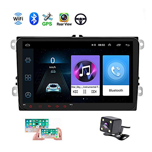 Double Din Car GPS Navigation Head Unit 9' Touch Screen for VW Skoda Octavia Golf Touran Passat B6 Jetta Polo Tiguan in Dash Autoradio Android Car Radio Support Bluetooth WiFi+ Rear View Camera