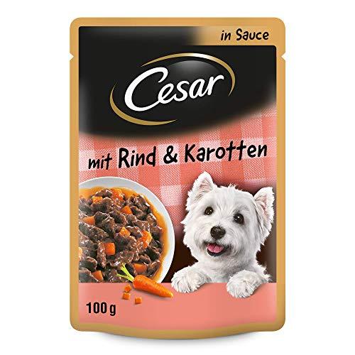 Cesar Hundefutter Nassfutter Feines im Frischebeutel mit zartem Rind und Karotten in Sauce, 24 Portionsbeutel (24 x 100g)
