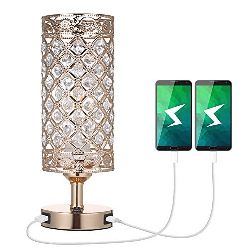Tomshine, lampada da tavolo in cristallo, con 2 porte USB, lampada da comodino, color oro, con...