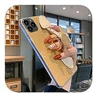 人気度ファッションレトロホーンシェイプリストストラップ携帯電話ケースFor iPhone11ProMax 6 7 8Plusグリッターパウダープロテクションソフトシェル用-4-For iPhone 7 Plus