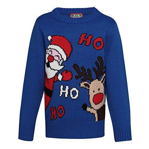 Christmas Shop Kinder Weihnachtspullover Ho Ho Ho (140 (9/10 Jahre)) (Blau)
