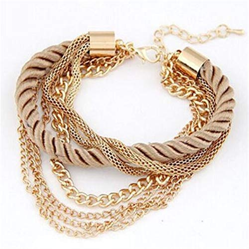 YUNLAN Multilayer Charm Bracelet Exaggerated Gold Chain Bracelet Female Hand Woven Rope Jewelry bracelet (Color : 6)