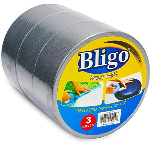 Bligo Profi Silber Gewebeband, Stark Gewebeverstärktes Reparaturband, Panzerband, Duct Tape, Panzatape für Markieren Verschließen Umreifen, 48 mm x 32 m, 3 Rollen