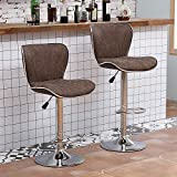 <span class='highlight'><span class='highlight'>Ansley&HosHo</span></span> Bar Stool for Kitchen Height Adjustable PU Comfy Bar Stool with Backrest Footrest Padded Swivel Bar Stool with Shell Back Chrome Legs for Home Island Counter Breakfast (Coffee-Set of 4)