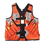 Heavy Duty Tool Vest,Multi-Purpose Electrican Work Vest, Large Capacity Carpenters Construction Harness, Design With Multiple Pockets And Reflective Strips,Ideal For Men And Women Small To XL (Orange)