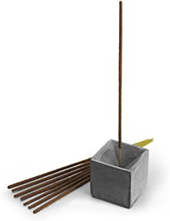 Slice of Goodness Grey Cement Incense Holder Cube - Modern Minimal Design with Upright Burner and Geometric Cone Shape Interior - Incense Sticks Not Included - for 2mm Incense Sticks