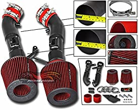 Velocity Concepts Cold Heat Shield Air Intake Matte Black + RED Filter For 09-14 Nissan 370Z 3.7L V6