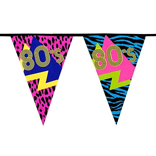 Colourful 80s Flag Bunting (6 metres). Includes 15 eye-catching flags with an animal print theme.
