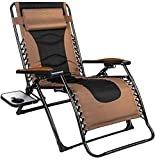 QOMOTOP Zero Gravity Chair, Lounge Chair Outdoor Lawn Chairs with Side Table and Adjustable Headrest, Support up to 350 lbs, Great for Patio, Porch and Deck, Brown