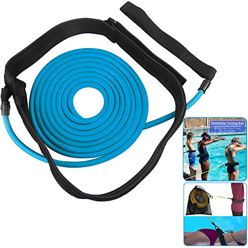 ELEWELT 4M Swim Training Belts, Swim Tether Stationary Swimming Trainer, Swimmer Resistance Bands Static Swimming Training Belts for Adult Kids Leash Mesh Pocket Safety Swimming Pool Tools (Blue)