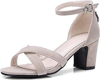 BalaMasa Womens ASL06093 Pu Block Heels